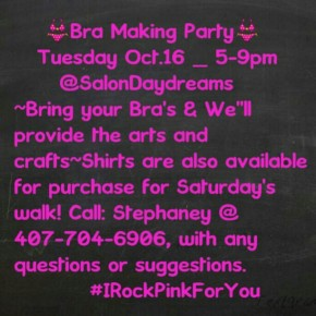 Bra Making Party for Breast Cancer Awareness